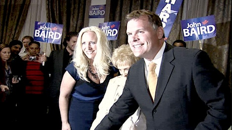 John Baird celebrates his win in Ottawa West-Nepean as the Conservatives form a majority government, Monday, May 2, 2011.