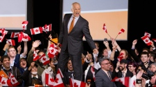 NDP Leader Jack Layton arrives to his parties election event in Toronto, Monday, May 2, 2011. (Darren Calabrese / THE CANADIAN PRESS)