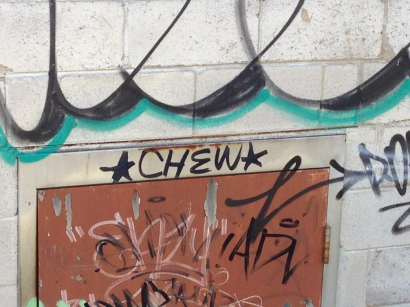 Graffiti is seen in London, Ont. on Wednesday, July 24, 2013.