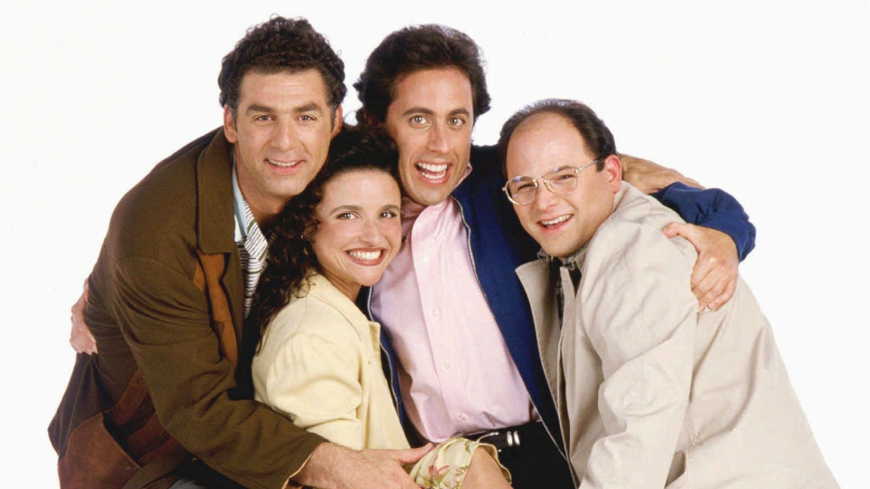 """The principal cast members of NBC's comedy series, """"Seinfeld,"""" pictured in a 1995 promotional photo, are, from left: Michael Richards, Julia Louis-Dreyfus, Jerry Seinfeld and Jason Alexander. """"Seinfeld,"""" in its seventh year with NBC, remains the hottest sitcom on television. (AP / NBC, George Lange)"""