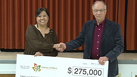 Wednesday morning, Joe Remai, owner of the Remai Group of companies, handed over a $275,000 cheque to the development corporation.