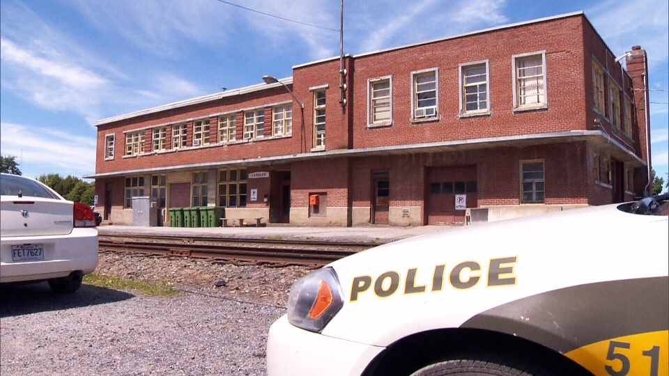A police car sits outside of MM&A Railway's Farnham, Que. office on Thursday, July 25, 2013.