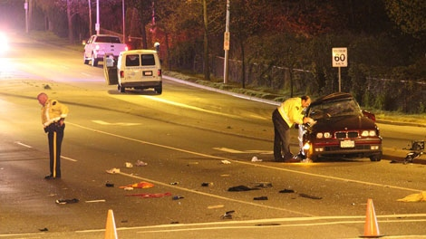 A 22-year-old woman was killed after her vehicle was struck by a panel van at a red light in Surrey, B.C.  May 4, 2011. (CTV)