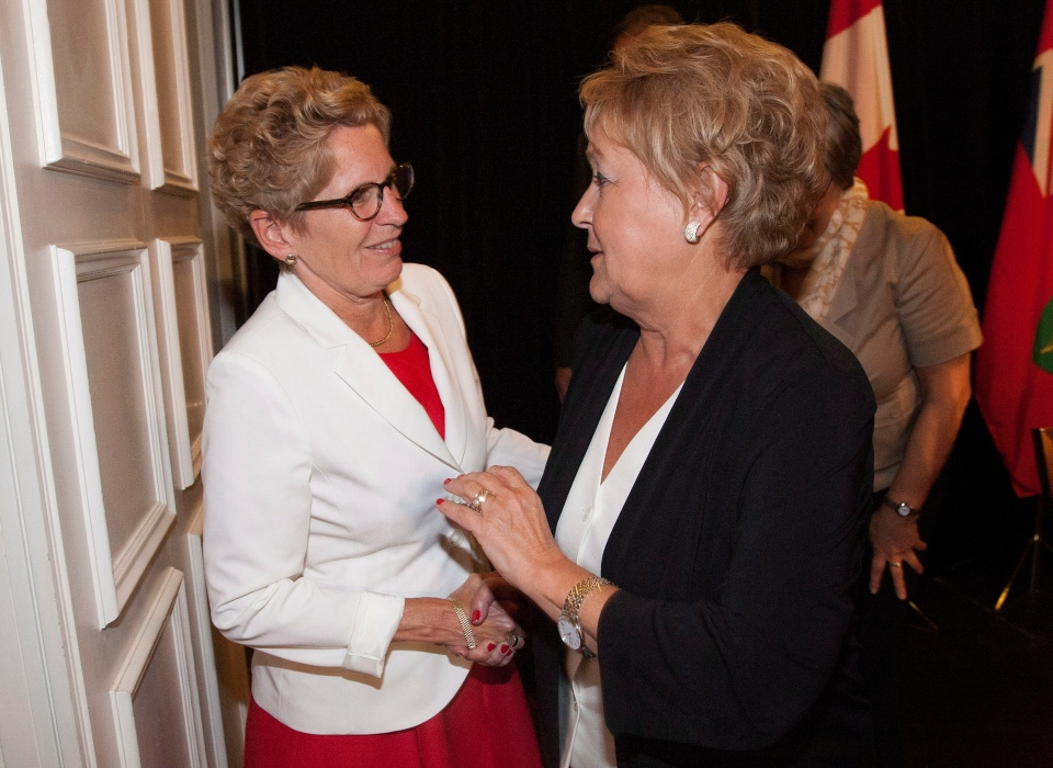 Ontario Premier Kathleen Wynne, left, shakes hands with Quebec Premier Pauline Marois following the closing news conference on the final day of the Council of the Federation summer meeting in Niagara-on-the-Lake, Ont., Friday, July 26, 2013. (Aaron Lynett / THE CANADIAN PRESS)