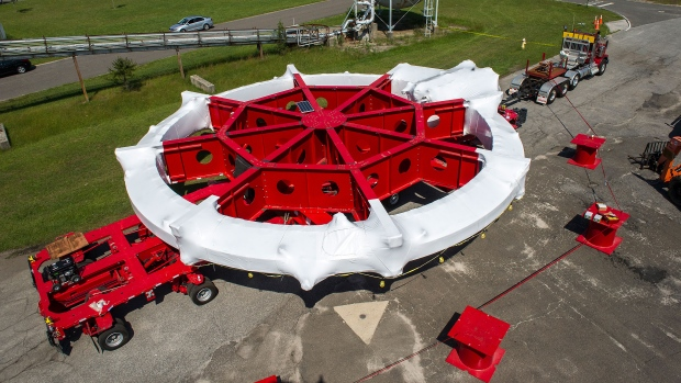 Giant magnet resembling flying saucer