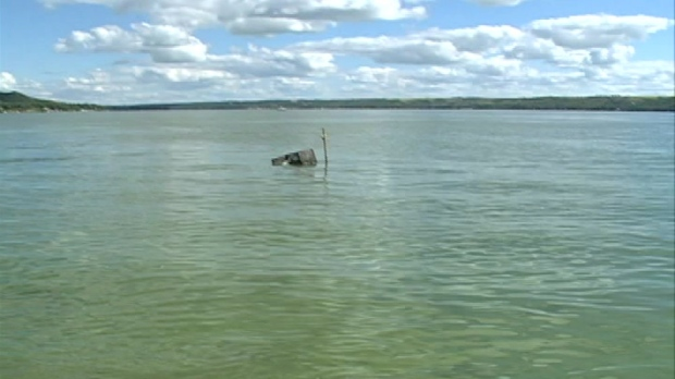 Katepwa Lake was taken over by blue-green algae Friday.