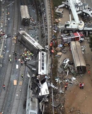 train accident in Santiago de Compostela, Spain