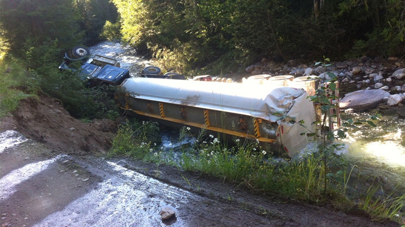 A tanker carrying 35,000 litres of jet fuel crashed in Lemon Creek on Friday, July 26, 2013, spurring an evacuation alert in the surrounding area. (Nelson Star)