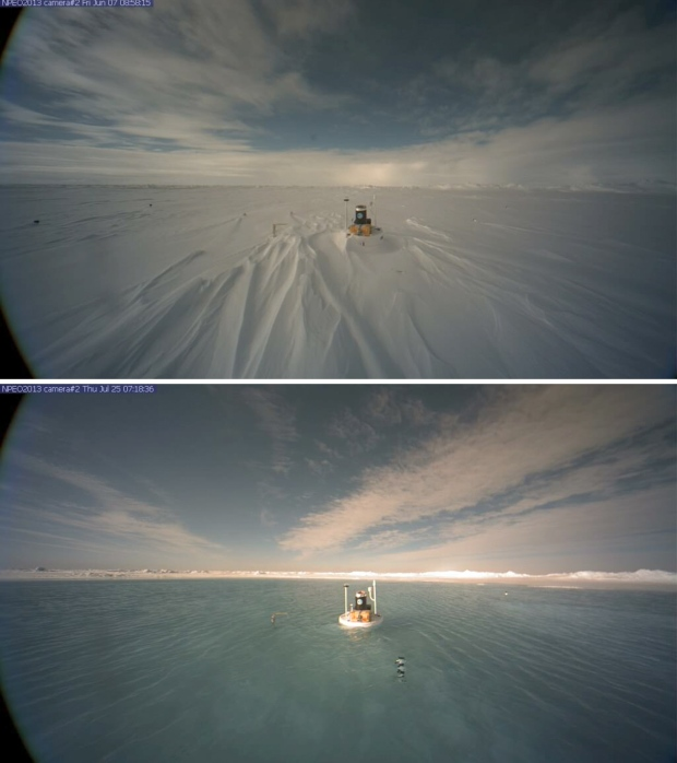 Time-lapse video shows North Pole ice melt