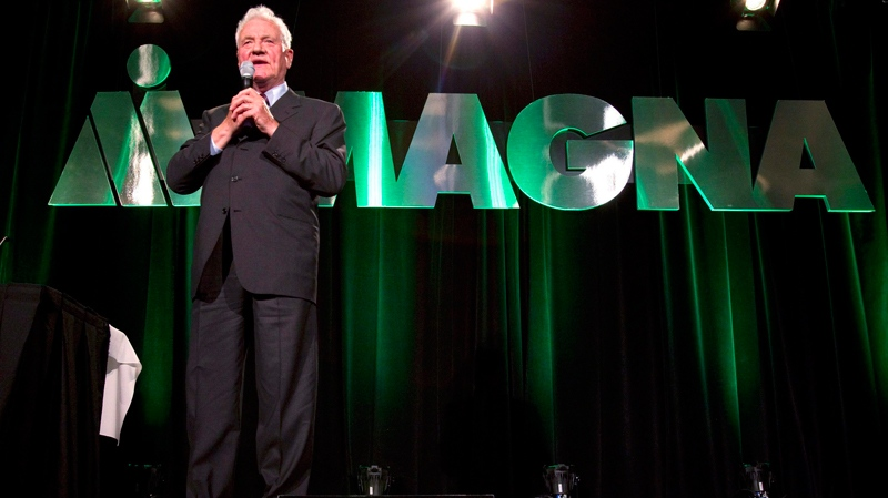 Magna International Inc. Chairman Frank Stronach speaks at the company's annual general meeting in Markham, Ont. on Wednesday, May 4, 2011. (Frank Gunn / THE CANADIAN PRESS)