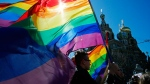 Gay rights activists carry rainbow flags as they march during a May Day rally in St. Petersburg, Russia on Wednesday, May 1, 2013. (AP / Dmitry Lovetsky)