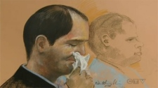 This composite sketch shows Dr. Guy Turcotte weeping openly in the St-Jerome courtroom following the testimony of his ex-wife.
