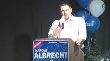 Harold Albrecht's son speaks at an election night victory celebration, after he accompanied his wife Betty to the hospital on Monday, May 2, 2011.