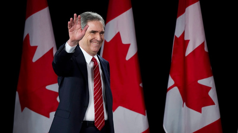 Liberal Leader Michael Ignatieff takes the stage in Toronto on Monday, May 2, 2011. (Nathan Denette / THE CANADIAN PRESS)