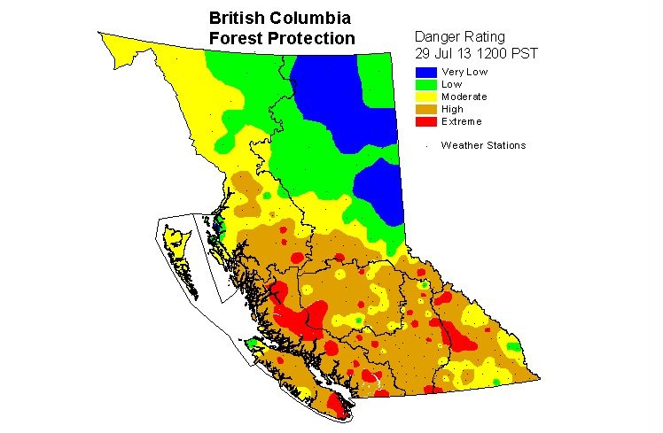 Fire danger is verging on extreme across southern B.C. July 29, 2013. (Courtesy B.C. Wildfire Management Branch)