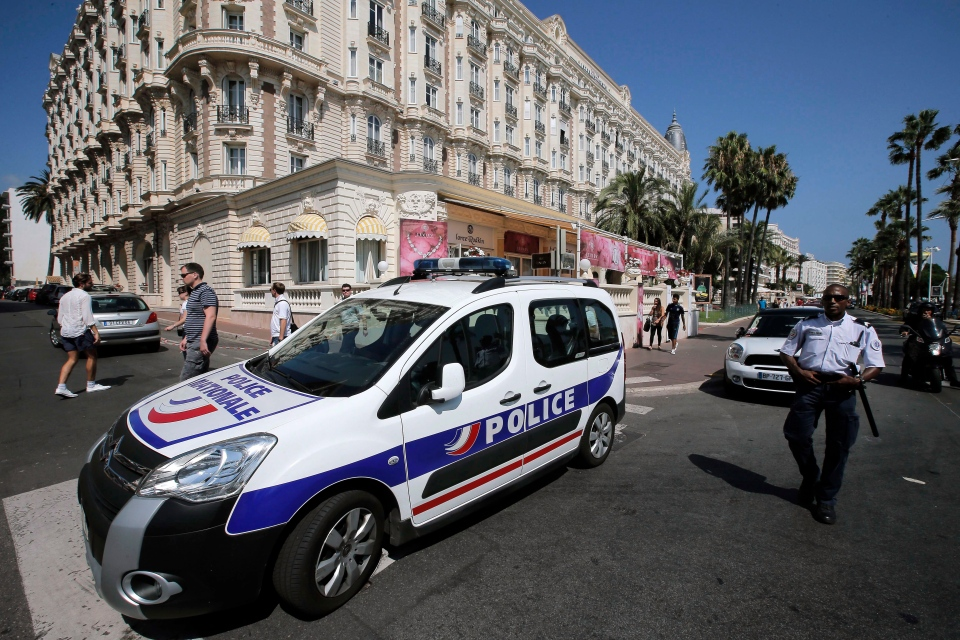 A view of the Carlton hotel, in Cannes, southern France, the scene of a daylight raid, Sunday, July 28, 2013. (AP / Lionel Cironneau)