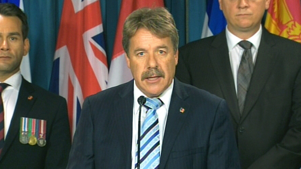 NDP Veterans Critic Peter Stoffer speaks at a press conference on the federal government's New Veterans Charter, on Parliament Hill in Ottawa, Tuesday, July 30, 2013.