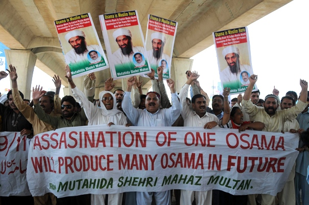Supporters of local social group Muthahida Shehri Mahaz rally to condemn the killing of Osama bin Laden in Multan, Pakistan on Friday, May 6, 2011. (AP / Khalid Tanveer)