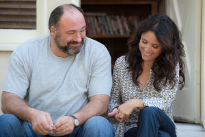 "This publicity photo released by Fox Searchlight shows Julia Louis-Dreyfus, right, and James Gandolfini together in a scene from the film, ""Enough Said."" (AP Photo/Fox Searchlight, Lacey Terrell)"