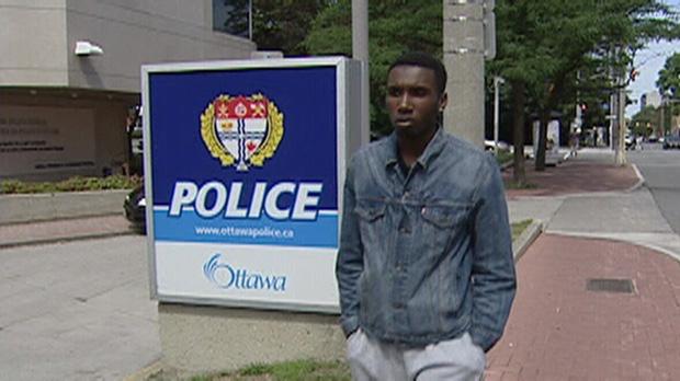 Darius Martin outside Ottawa police statioin