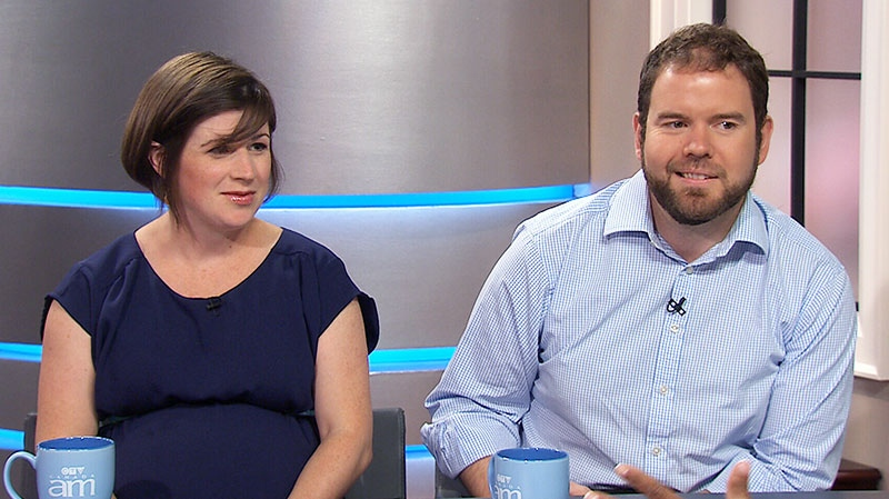Expectant parents Katie Reise and Chris Vollmershausen speak on Canada AM, Thursday, Aug. 1, 2013.