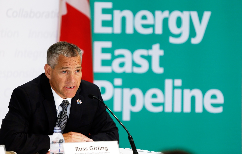 TransCanada CEO Russ Girling announces the company is moving forward with the 1.1 million barrel-per-day Energy East Pipeline project at a news conference in Calgary, Thursday, Aug. 1, 2013. (Jeff McIntosh / THE CANADIAN PRESS)