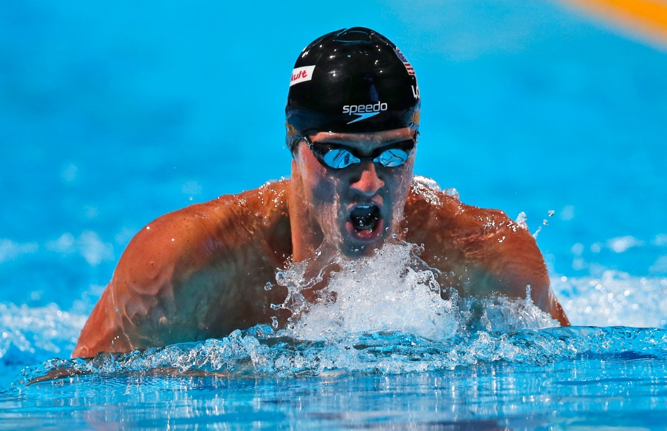Ryan Lochte of the United States swims to the gold medal in the Men's 200m individual medley final at the FINA Swimming World Championships in Barcelona, Spain, Thursday, Aug. 1, 2013. (AP / Michael Sohn)