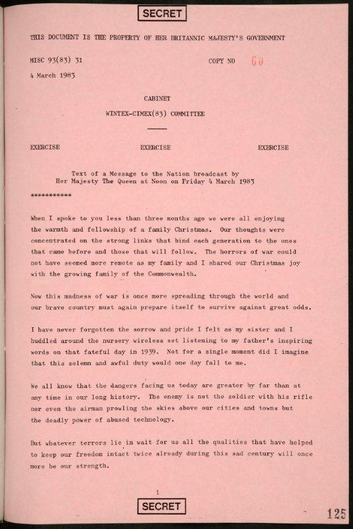 The first of a two-page speech for Queen Elizabeth II written as an exercise simulating the event of nuclear war is shown in this image.