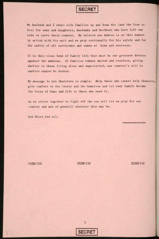 The second of a two-page speech for Queen Elizabeth II written as an exercise simulating the event of nuclear war is shown in this image.