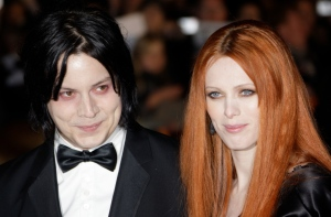 Musician Jack White, left, and Karen Elson arrive on the red carpet for the Royal World Premiere of the 22nd James Bond film, 'Quantum of Solace' in London on Oct. 29, 2008. (AP / Joel Ryan)