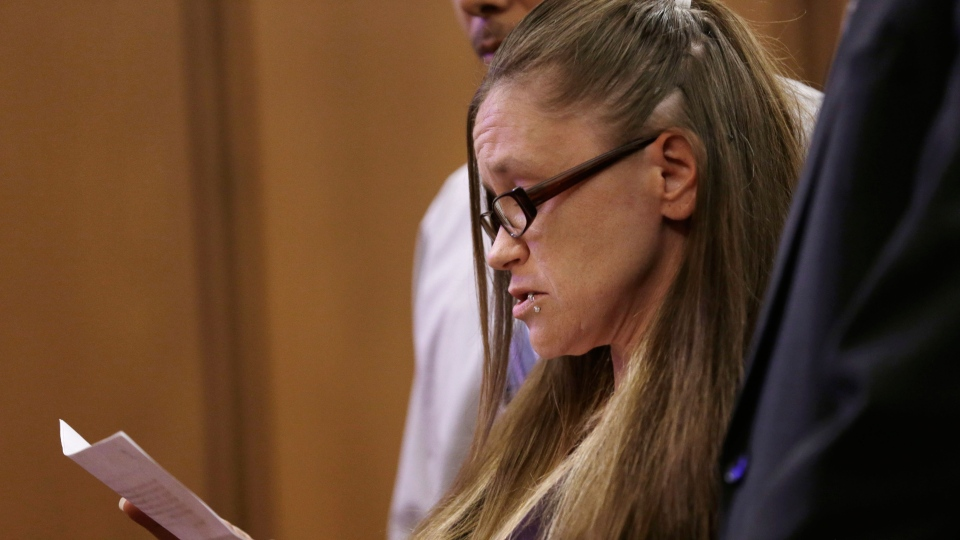 Beth Serrano, sister of Amanda Berry, speaks on behalf of Berry during the sentencing phase for Ariel Castro in Cleveland on Thursday, Aug. 1, 2013. (AP / Tony Dejak)