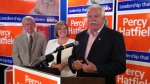 NDP candidate Percy Hatfield gives his victory speech in Windsor, Ont., on Aug.1, 2013. (Sacha Long / CTV Windsor)