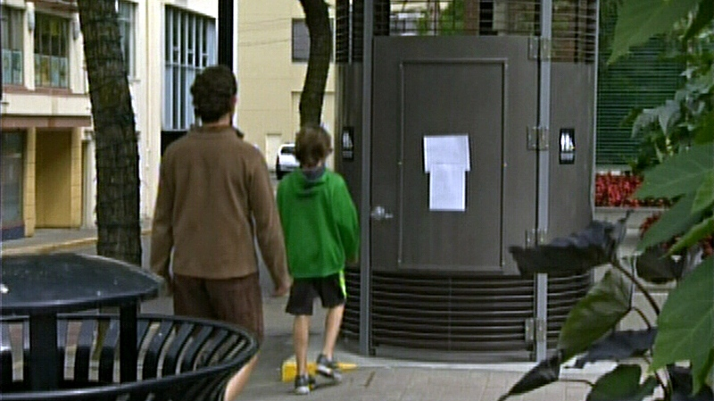 Some Nanaimo residents are frustrated that a $120,000 public toilet in the city's downtown area is out of order on its second day of being operational. (CTV Vancouver Island)