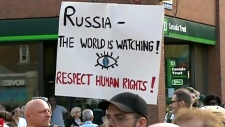 Protesters gather in response to Russia's new law
