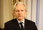 WikiLeaks founder Julian Assange sits inside the Ecuadorian Embassy in London on July 30, 2013.  (Sunshine Press Productions)