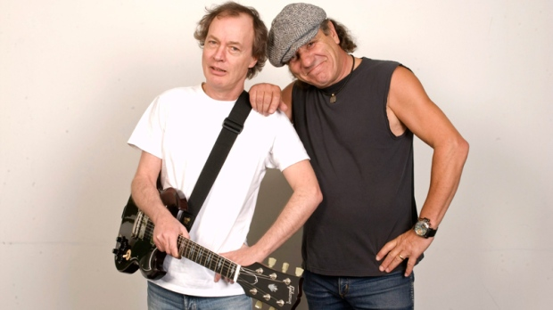 Angus Young, left, and Brian Johnson of AC/DC are photographed in New York, Sept. 9, 2008. (AP / Jim Cooper)