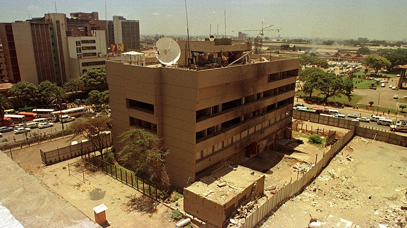 The wrecked U.S. Embassy is seen in downtown Nairobi, Kenya on Monday, March 22,1999. (AP / Khalil Senosi)