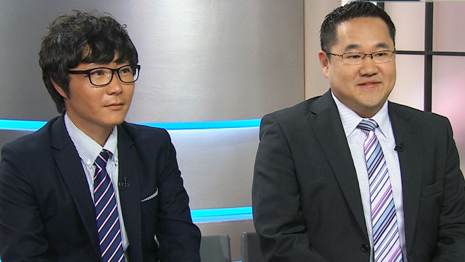 North Korea defector Seong-Min Lee, left, and Jack Kim, the co-founder of HanVoice, right, appear on CTV's Canada AM on Tuesday, Aug. 6, 2013.