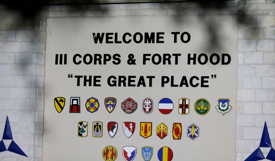 The main entrance of the Army base is shown where the start of the court-martial of Maj. Nidal Malik Hasan is taking place on Aug. 6, 2013, in Fort Hood, Texas. (AP / LM Otero)
