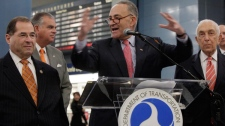 U.S. Sen. Charles Schumer, D-NY, left, is joined by U.S. Rep. Jerrold Nadler, D-NY, left, U.S. Transportation Secretary Ray LaHood, second left, and U.S. Sen. Frank Lautenberg, D-NJ, at an announcement in New York's Pennsylvania Station, Monday, May 9, 2011. (AP / Richard Drew)