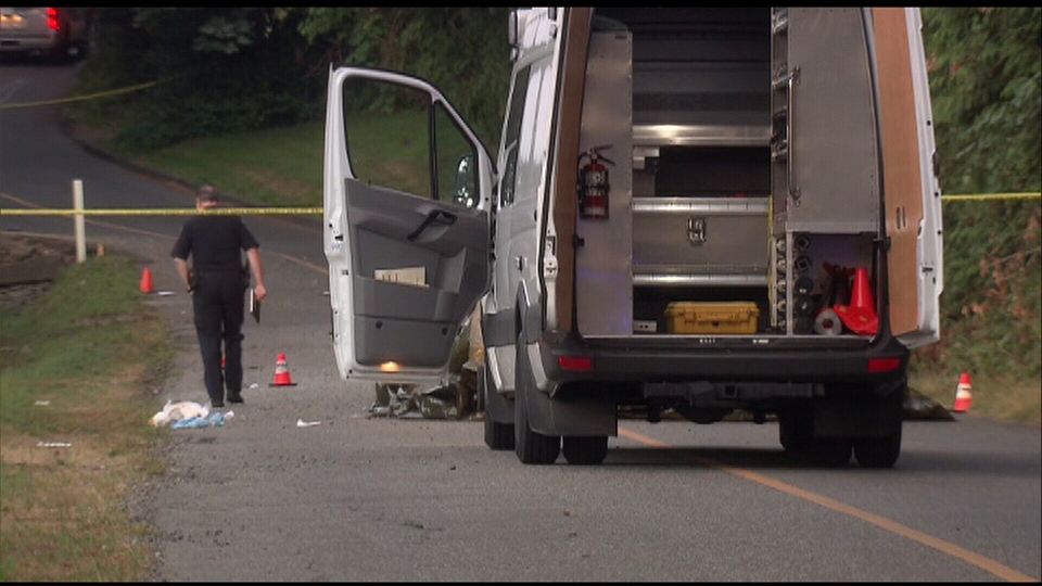 A 19-year-old man was killed in a car crash in Abbotsford, B.C., on Monday, Aug. 6, 2013. (CTV)