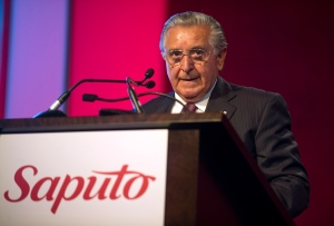 Saputo Inc. Chairman Lino Saputo addresses shareholders during the company's annual general meeting in Laval, Que., Tuesday, August 6, 2013. THE CANADIAN PRESS/Graham Hughes