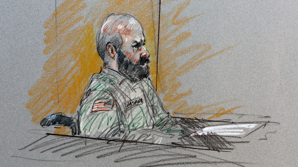 This court room sketch shows Maj. Nidal Malik Hasan during his court-martial in Fort Hood, Texas on Tuesday, Aug. 6, 2013. (AP / Brigitte Woosley)