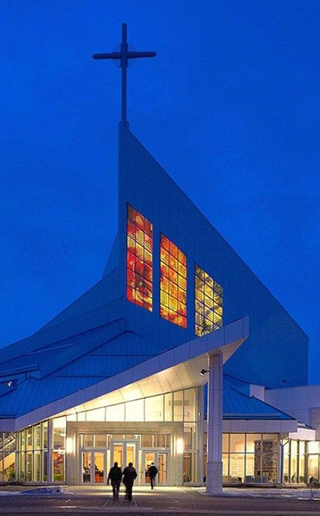 The Cathedral of the Holy Family is the first cathedral to use embedded solar panels in its stained glass. (Sarah Hall Studio)