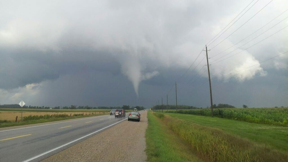 Ominous clouds are seen over Arthur, Ont., on Wednesday, Aug. 7, 2013. (David T. Chapman/Twitter)