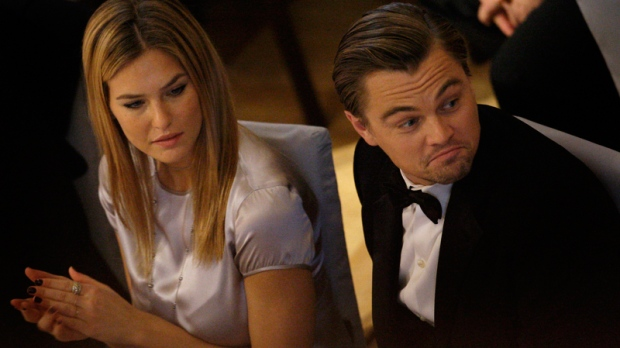 Leonardo DiCaprio and Bar Refaeli during the ceremony for the 'Cinema for Peace Gala 2010' during the International Film Festival Berlinale in Berlin, Germany, Monday, Feb. 15, 2010. (AP / Joel Ryan)