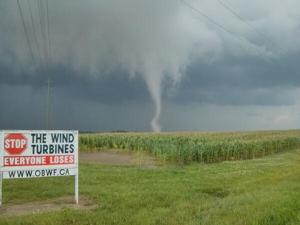 A tornado is seen near Arthur, Ont. on Wednesday, August 7, 2013 in this photo provided by Dave Patrick.