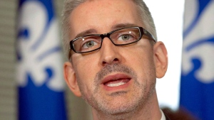 Jean-Martin Aussant speaks in Quebec City in an April 5, 2012 file photo. (Jacques Boissinot / THE CANADIAN PRESS)