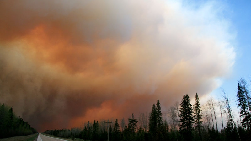 Smoke seen rising from the wildfires near Slave Lake, Alberta, on Sunday, May 15, 2011. (Photo courtesy of Mike Kapusta)