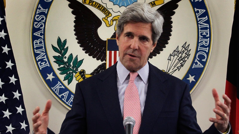 U.S. Senator John Kerry gestures, as he speaks during a press conference at the U.S. embassy in Kabul, Afghanistan, Sunday, May 15, 2011. (AP / Musadeq Sadeq)
